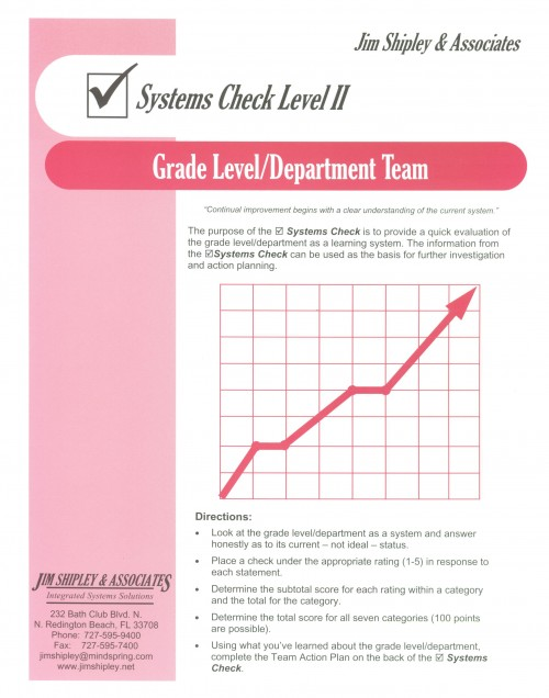 SCGLDT - Grade-Level/Department Systems Check II Cover Image