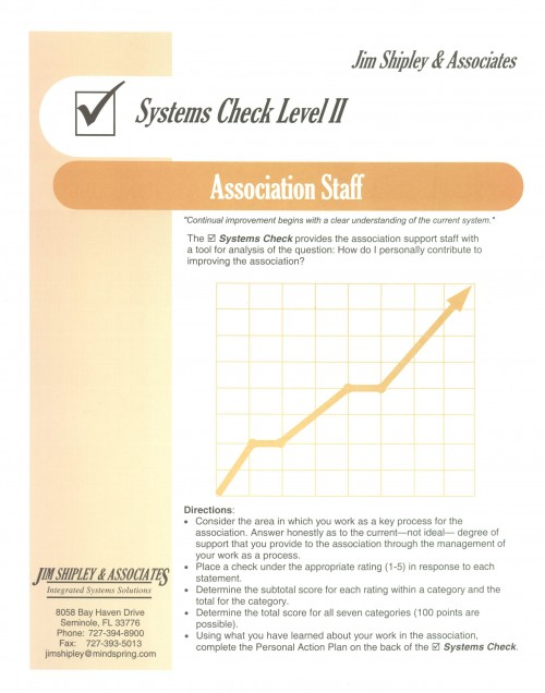 SCAS - Association Staff Systems Check II Cover Image