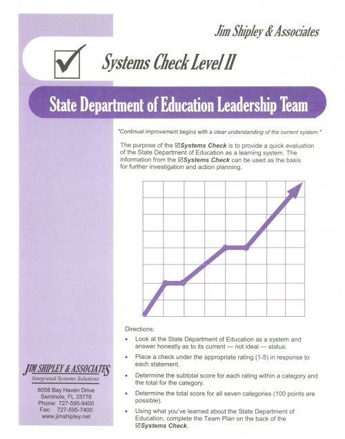 SCDOE - State Department of Education Leadership Team Systems Check II Cover Image